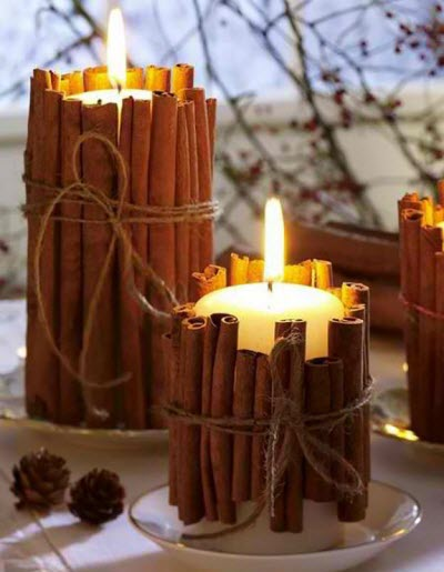 Cinnamon Stick Candle - Affordable Homemade Christmas Table Decorations