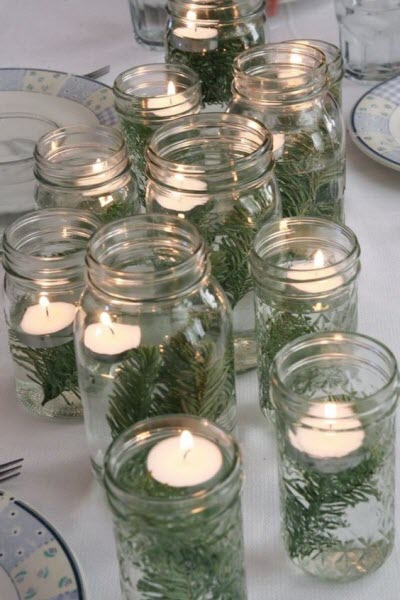 Floating Tealight Candles - Affordable Homemade Christmas Table Decorations