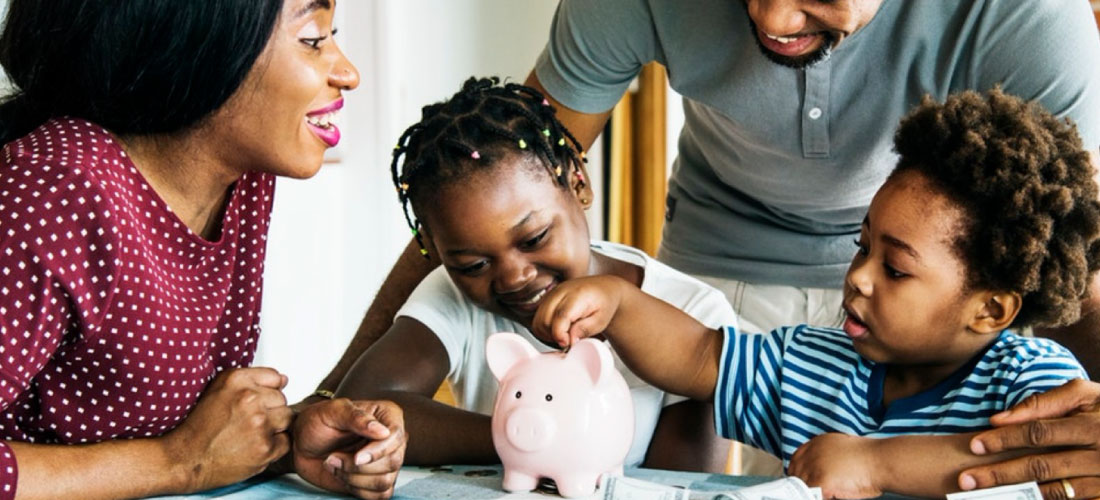 Family learning how to save money at home
