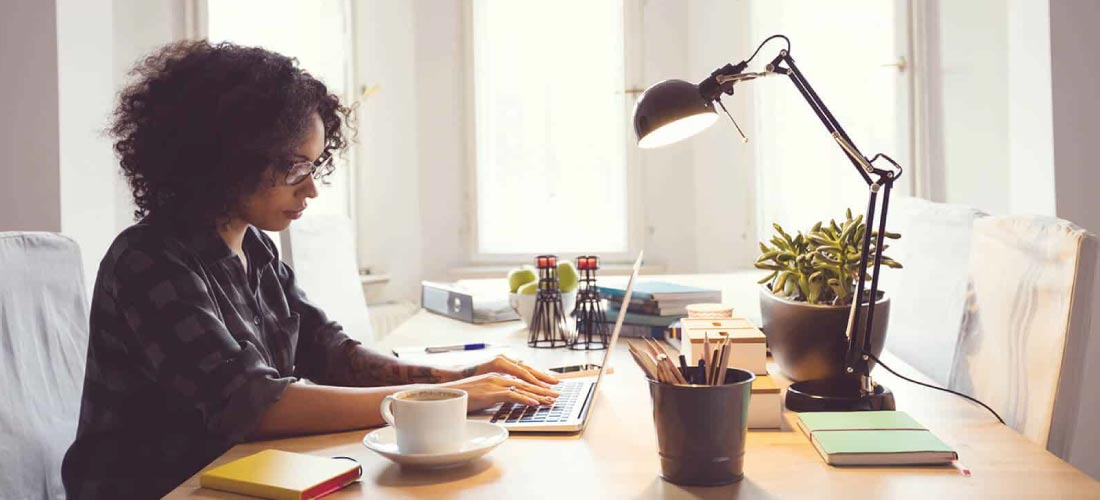 Save when working from home woman at her desk